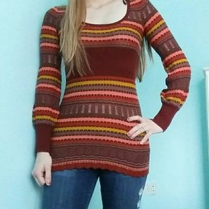 Free People Striped Sweater Dress XS Red